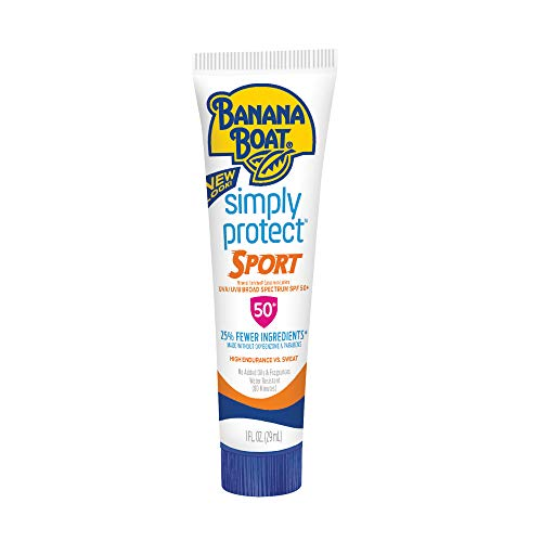 (Banana Boat Sunscreen Simply Protect Sport Broad Spectrum Mineral Sunscreen Lotion, TSA Approved Size, SPF 50+, 1 Ounce)