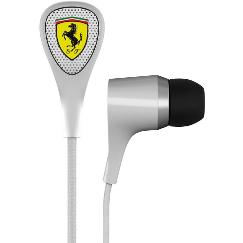 Ferrari AAV-2LFE010W Scuderia S100i Earphones with Three Button Remote - White (Discontinued by - Ferarri Scuderia