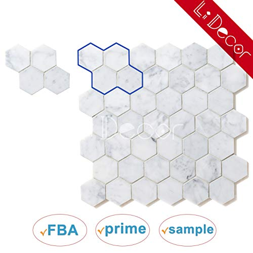 (Sample Italian Carrara White Hexagon Honeycomb 2in Polished Carrera Marble Mosaic Tiles for Bathroom Kitchen Wall Floor Backspalsh Tiles by Li Decor )