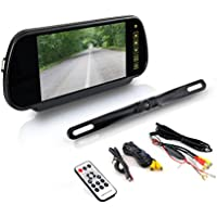 Pyle Backup Car Camera - Rear View Mirror Monitor System w/ Safety Parking Assist Distance Scale Lines - Features Bluetooth, Waterproof Protection, Night Vision, 7 LCD Screen Display - PLCM7400BT