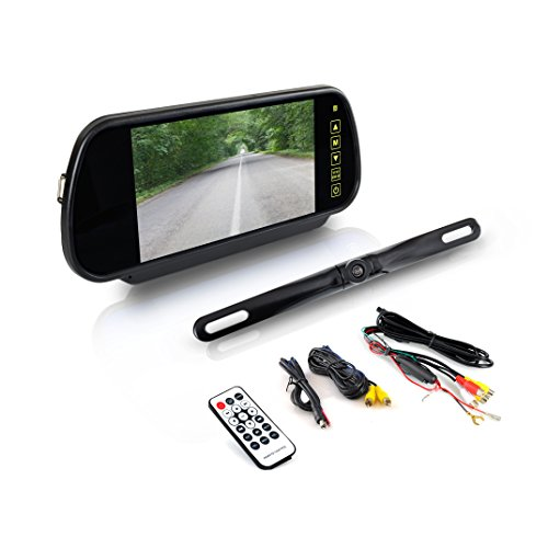 Pyle Backup Car Camera - Rear View Mirror Monitor System w/Safety Parking Assist Distance Scale Lines - Features Bluetooth, Waterproof Protection, Night Vision, 7
