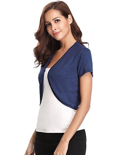 Chic Chic Bleu Gilet Boutons Bolro Bolro Bretelle Tricot Femme Mariage Shirt qAZTtt