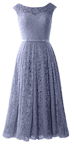 Dress Party Formal Tea Sleeve Caps Length Blue Steel Cocktail MACloth Lace Gown Wedding qa8IOnwp