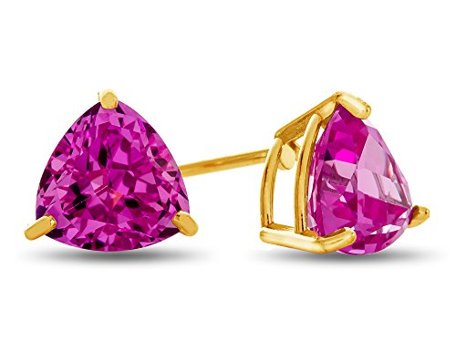 Sapphire Trillion Earrings - Finejewelers 7x7mm Trillion Created Pink Sapphire Post-With-Friction-Back Stud Earrings 10 kt Yellow Gold