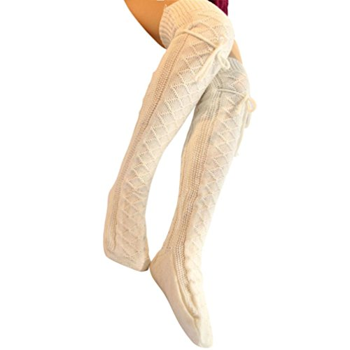 Blocks Acrylic Sock (Euone Women Cable Knit Over knee Long Boot Winter Warm Thigh-High Soft Socks Leggings (White))