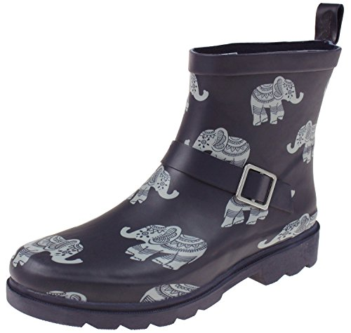 Capelli New York Ladies Ombrello Stampato Breve Pioggia Boot Elefante Blu Marino
