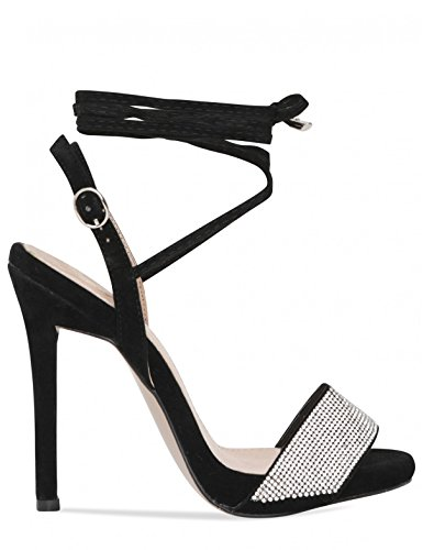 LAMODA Womens Strappy Lace up Heels with Diamante Detail in Faux Suede Black 1mzlg