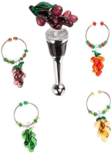 LS Arts Grape Wine Bottle Stopper and Charm Set