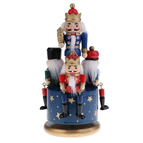 Wooden Nutcracker Handmade - Flameer Handmade Wooden Nutcracker Music Box Wind Up Clockwork Toy Soldier Figures Home Decor Ornaments Collectibles - Blue