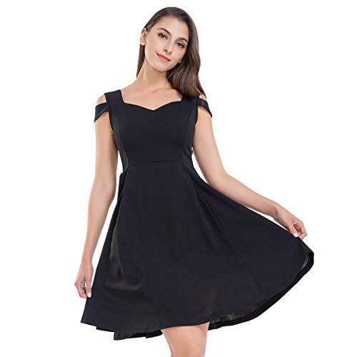 JTANIB Cocktail Party Dresses for Women, A Line Cold Shoulder V Neck Skater Dresses,Black ()