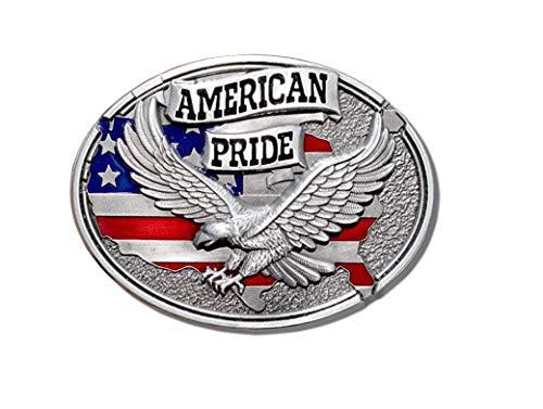 (Pewter Style American Pride US Flag Soaring Eagle Belt Buckle WT-093)