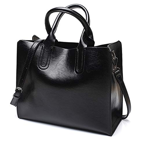 Pahajim Women Top Handle Satchel fashion handbags for women Tote Purse (Black) ()