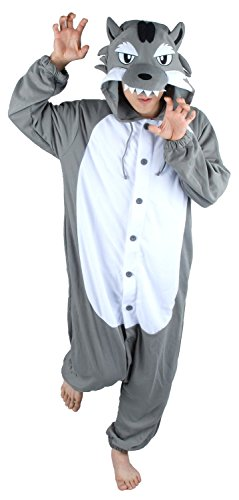 Grey Wolf Unisex Adult Animal Cosplay Cosplay Costume Pajamas Onesies Clothing