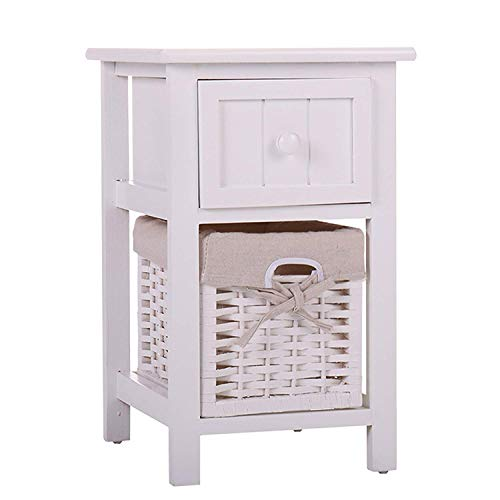 JAXPETY VD-55996HWWH Night Stand 2 Layer 1 Drawer Bedside End Table Organizer Bedroom Wood W/Basket (1), White (Baskets White Table Bedside With)