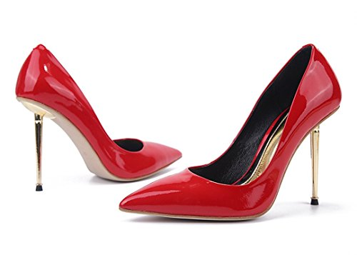 Heel TDA Evening Toe Pointed Dress Red Patent Shoes Women's Metal Party Leather Sexy Stiletto xZrZHIq