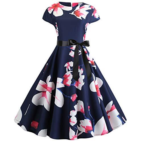 Sunhusing Women's Vintage Round Neck Short Sleeve Print Waisted Dress Belt Lace-Up Evening Gown Dress White ()