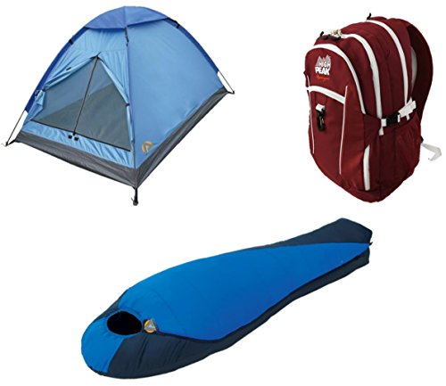 High Peak USA Alpinizmo Extreme Pak 0F sleeping bag + Monodome 3 tent & Backpack combo, Red/Blue, One Size by High Peak USA Alpinizmo