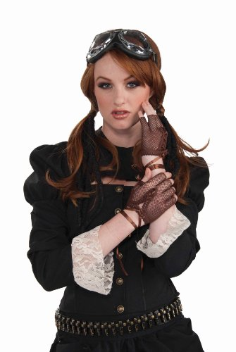 Forum Novelties Women's Steampunk Fingerless Gloves Costume Accessory, Brown, One (Brown Leather Fingerless Gloves)