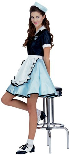 1950s Costumes- Poodle Skirts, Grease, Monroe, Pin Up, I Love Lucy 50s Car Hop Girl Costume $21.02 AT vintagedancer.com