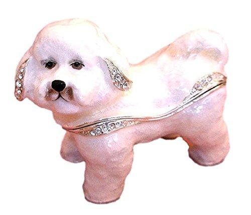 Kubla Crafts Bejeweled Bichon Frise Puppy Dog Enamel Trinket Box with Austrian Crystals ()