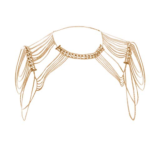MineSign Body Chain Jewelry for Women Shoulder Chain Tassels Harness Necklace Gold (Gold Body Necklace)