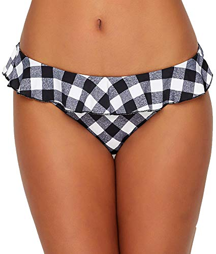 Freya Totally Check Italini Bikini Bottom, XL, Monochrome