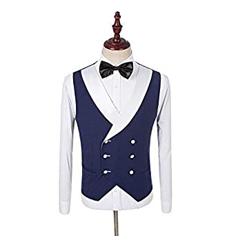 Mens 3 Piece Navy Blue Vintage Tailored Tuxedos White Shawl Lapel Slim fit Wedding Suit
