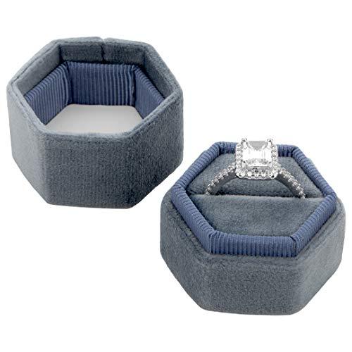 Koyal Wholesale Velvet Ring Box, Hexagon Vintage Wedding Ceremony Ring Box with Detachable Lid, 2 Piece Engagement Ring Box Holder, Modern Proposal Idea (Dusty Blue) (Ring Box Blue)