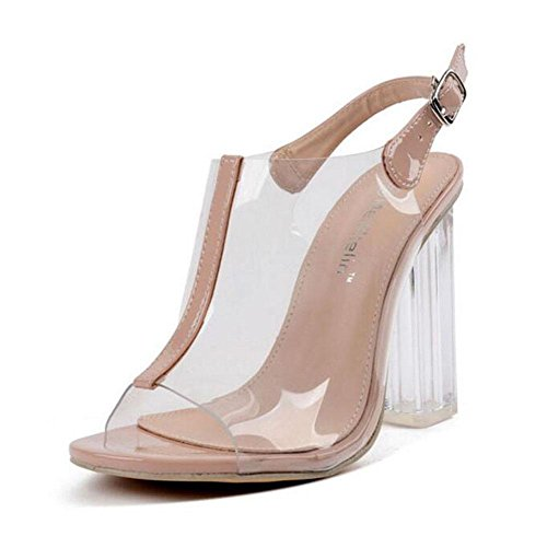 Female Ankle Women Sandals Charming Strap With apricot Heels Thick Toe Shoes Shoes Jelly Toe High Shoes Pumps Transparent Exposed Crystal GLTER Shoes Court Peep awq5q