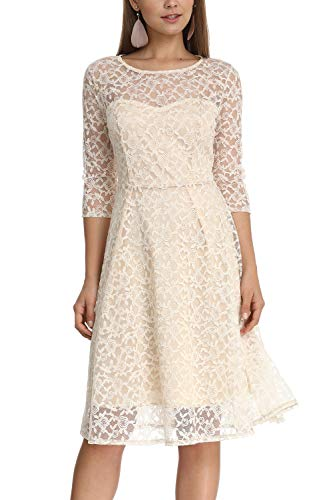 - Women's Elegant Plum Blossoms Floral Lace Dress 3/4 Sleeves Bridesmaid Midi Dresses Illusion Neckline (Nude, M)