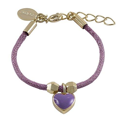 Ivy and Max Gold Finish Purple Enamel Heart Girls Charm Cord Bracelet (4+1