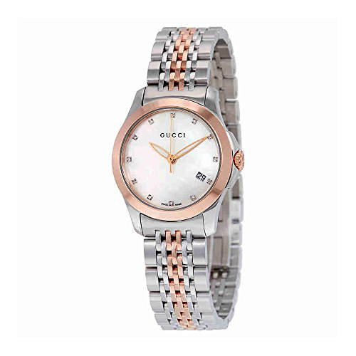 Gucci Women's YA126514 Gucci Timeless Steel and Pink PVD White Dial Watch