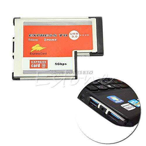 (New-Sky-View - 2 Dual Port USB 3.0 HUB Express Card ExpressCard 54mm Hidden Adapter For Laptop)