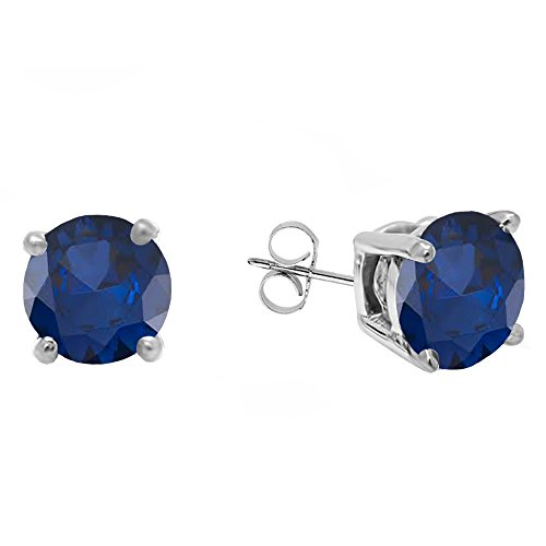Dazzlingrock Collection 14K 5 MM Each Round Blue Sapphire Ladies Solitaire Stud Earrings, White Gold - Round Solitaire Sapphire Blue