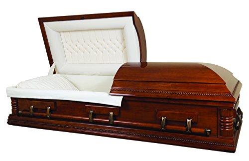 Overnight Caskets Lincoln Poplar Mahogany Finish W Cream Interior- Fine Wood Casket