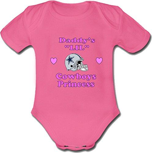 Rabbit custom Daddy's Cowboys Princess Dallas Unisex baby short sleeve bodysuit Toddler one piece romper 3-6 months pink