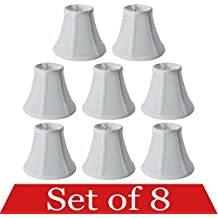 """Premium Quality 8-pack Mini Bell Lamp Shade Lampshade 5""""H Clip On Style(8pcs) for Chandeliers Wall Sconces Accent Lamps Beautiful Lighting Decor White Color"""