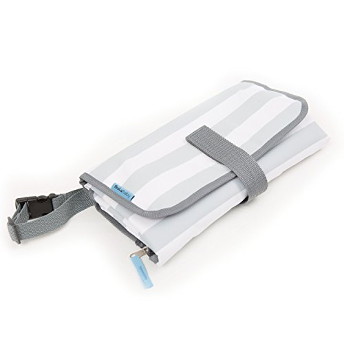 BULA BABY Portable Diaper Changing Pad With Detachable Bag – Grey Stripe