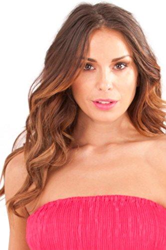 Dannii Matthews - Falda - sujetador bandeau - Paisley - Sin mangas - para mujer Rosa