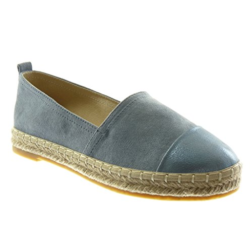 Angkorly Women's Fashion Shoes Espadrilles - Slip-on - Bi Material - Grained - Cord Block Heel 2.5 cm Blue