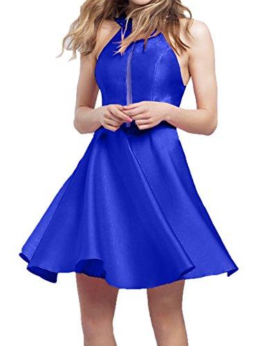 Blau Royal Cocktailkleider Damen Abendkleider Satin A Charmant 2018 Tanzekleider Mini Kurzes Neu linie Heimkehr O7wxYBq