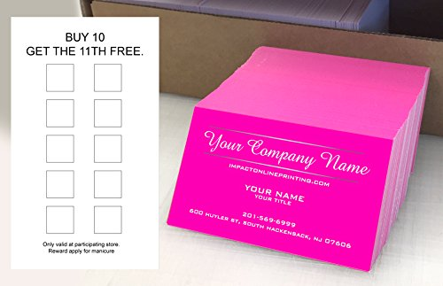 Classic Business Cards - Custom Loyalty Cards 500 pcs- Customize (front&back), Two Line Design, Pink - Classic matte paper 14pt (114 lbs. 308gsm-Thick Paper) Offset Printing, Made in The USA