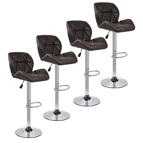 Set of 4 Bar Stools Modern Hydraulic Adjustable Swivel Barstools, Leather Padded with Back, Dinning Chair with Chrome Base, Brown For Sale