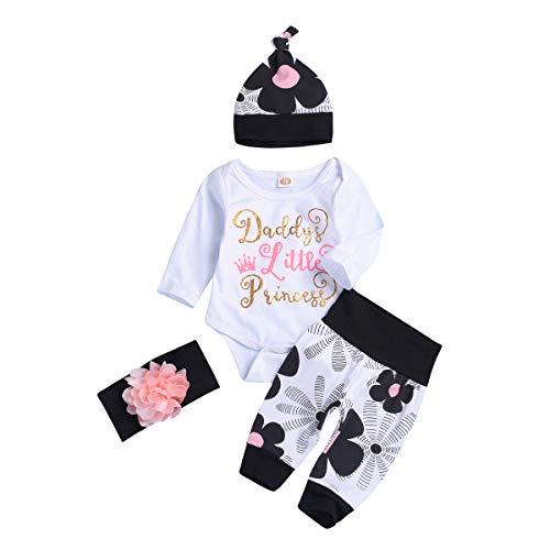 Newborn Baby Girls 4PCs Daddy Little Princess Romper + Flowers Pants + Hat + Flower Headband Outfits (0-3M) -