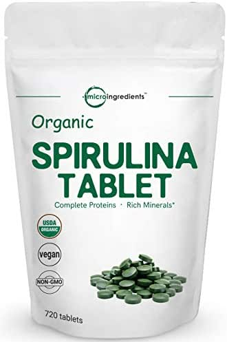 Organic Spirulina Supplements, 3000MG Per Serving, 720 Tablets (4 Months Supply), Rich in Minerals, Vitamins, Chlorophyll, Amino Acids, Fatty Acids, Fiber and Proteins, No GMOs Vegan Friendly