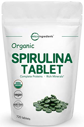 Organic Spirulina Supplements, 3000MG Per Serving, 720 Tablets (4 Months Supply), Rich in Minerals, Vitamins, Chlorophyll, Amino Acids, Fatty Acids, Fiber and Proteins, No GMOs Vegan Friendly (Nutrex Hawaii Hawaiian Spirulina)
