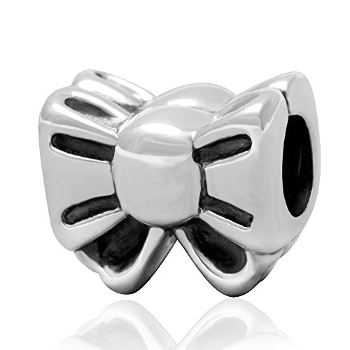 Bow/Bowknot Charm 100% Authentic 925 Sterling Silver Beads fit for DIY Charms Bracelets (Pandora Bow Charm)