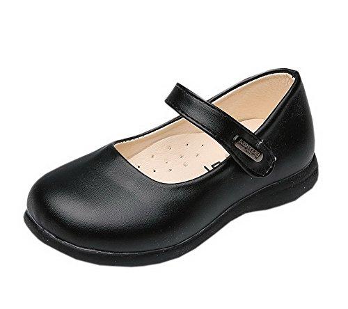 (Vokamara Girls Round Toe Preschool Shoes Mary Jane Flat Black 31 )