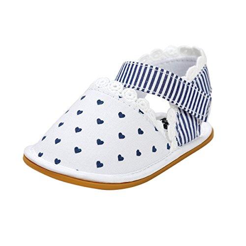 Itaar bebé niñas sandalias primavera verano zapatos antideslizante suela de goma suave para bebés niños primera caminantes Floral Talla:12-18 meses Blue Heart