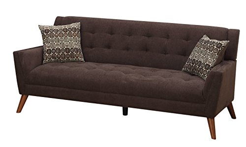 Furniture World Mid Century Sofa, Chocolate